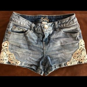 Girls Justice Lace and Denim Shorts